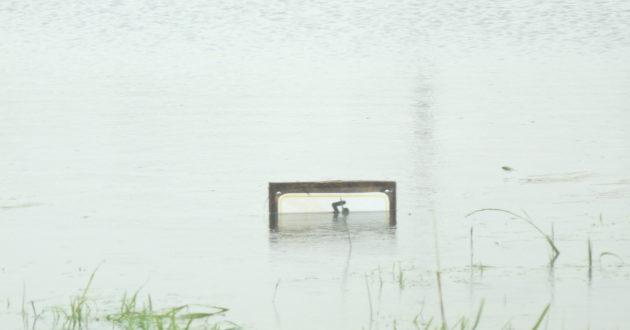 Dėl nesibaigiančio lietaus tvinsta nauja Pagėgių rekreacinė zona