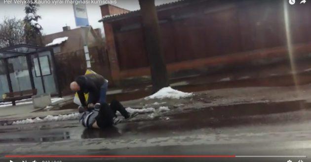 Centrinėje Kauno gatvėje du vyrai per Velykas   margino vienas kitą kumščiais(video)